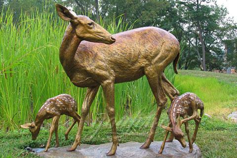 Antique Customized Antique Deer Bronze Animal Sculpture For Sale