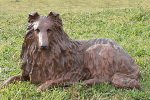 Bronze animal sculpture metal dog statues for garden decor