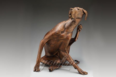 Indoor custom bronze large dog statue for home decor