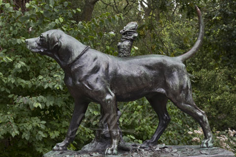 Life size bronze dog sculpture for garden decor