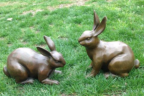 Full size metal rabbit sculpture bronze statue for sale