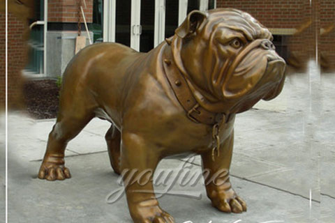 Metal Animal Art full-Size Cast Bronze Bulldog Statues for sale