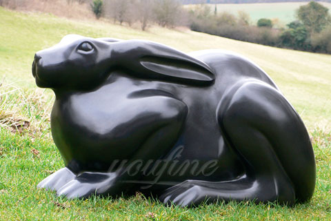 Outdoor Full size metal bronze animal rabbit statue on sale