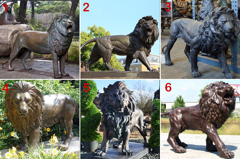 bronze standing lion statue