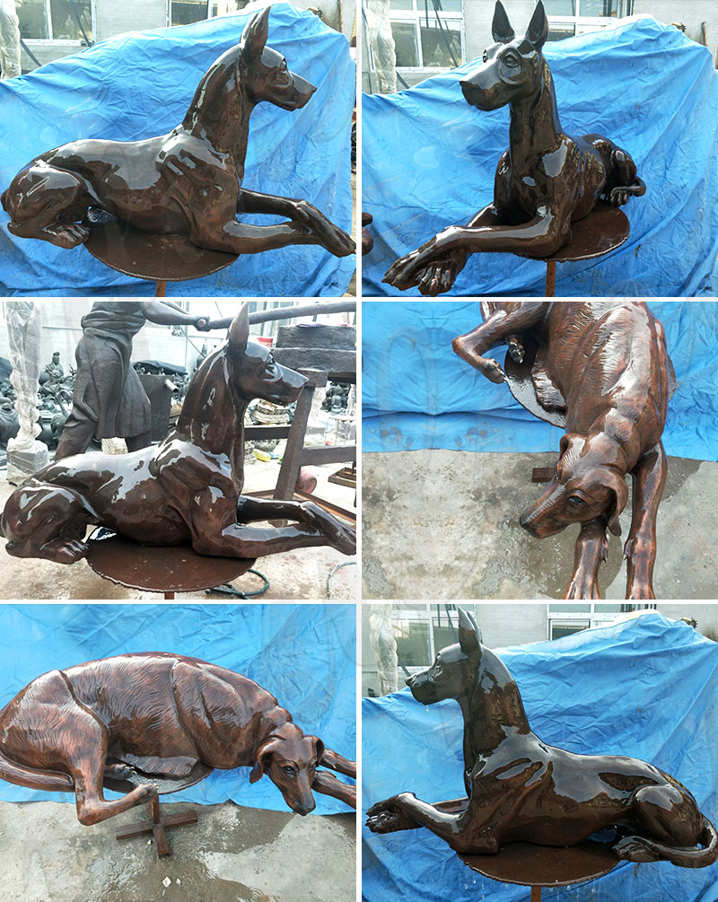 outdoor life size dog sculpture for sale