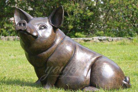 Bronze large Animal Happy Pig Statue Sculptures for garden