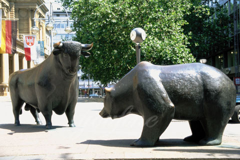 Outdoor decorative bronze wall street bull and bear statue for sale