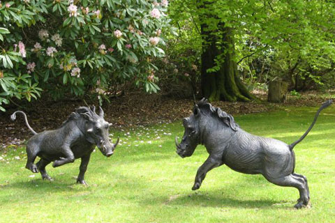 Garden Antique Large Bronze Animal Wild Boar Statues for park
