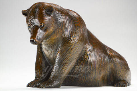 Large bronze brown bear statue for home decoration on sale