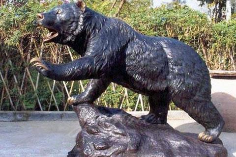 life size metal bronze animal sculpture standing bear for garden