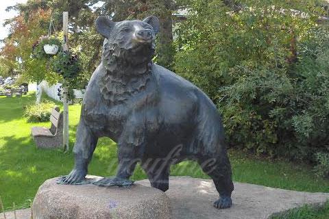 Life size black casting bronze bear statues for garden decor