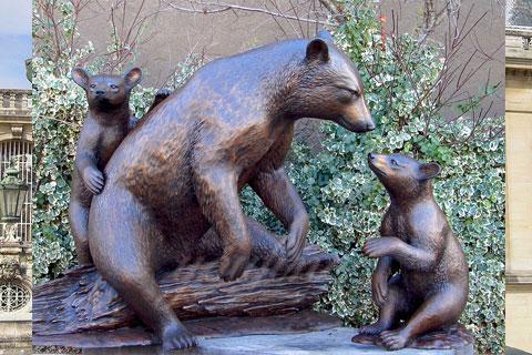 Lovely antique wildlife bronze black bear sculptures for home decor