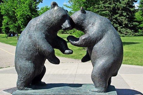 Outdoor life size garden decor bronze animal bear statues for sale