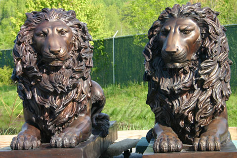 Outdoor Garden Ornament metal crafts bronze lion statues in pairs for sale
