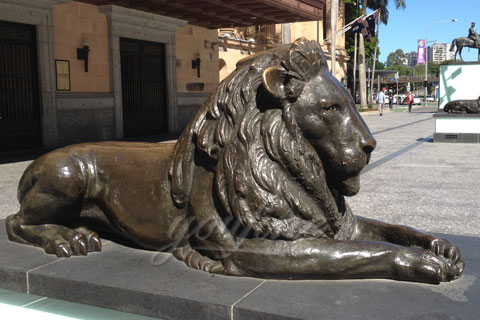 Lying bronze lion statue life-size animal sculptures for outside