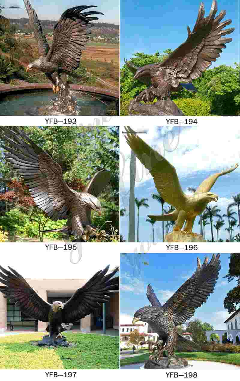 Bronze Eagle in Flight Statues