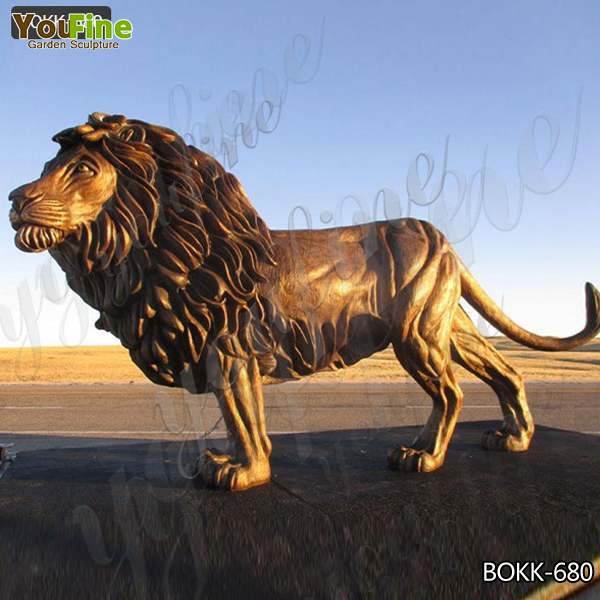 Customized Life Size Casting Bronze Animal Lion Sculpture Manufacturer BOKK-680