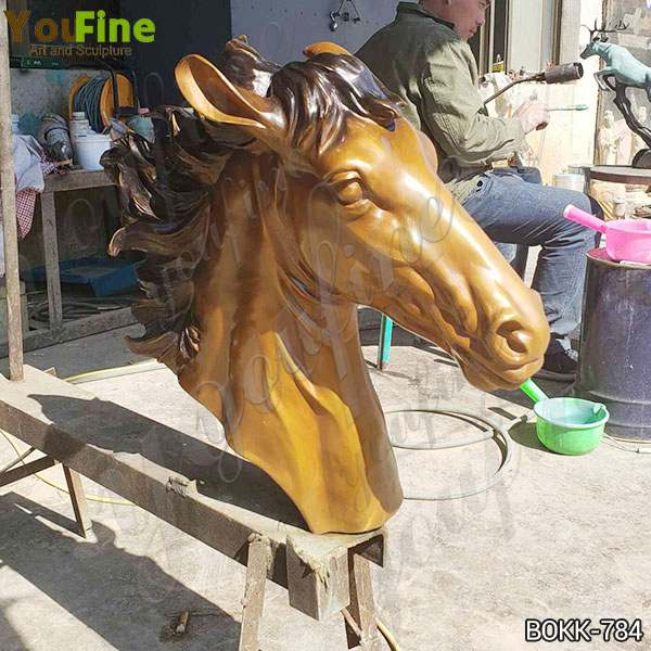 Large Size Artistic Casting Bronze Horse Head Sculpture for Decor Supplier BOKK-784