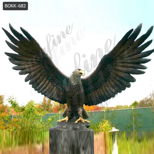 Large Size Decorative Bronze Eagle in Flight Sculpture for Garden Supplier BOKK-682