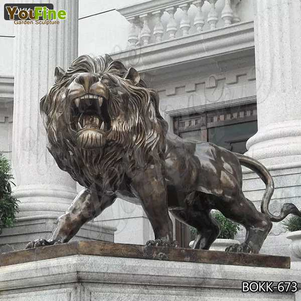 Outdoor Ornamental Casting Bronze Lion Garden Statue Design for Sale BOKK-673