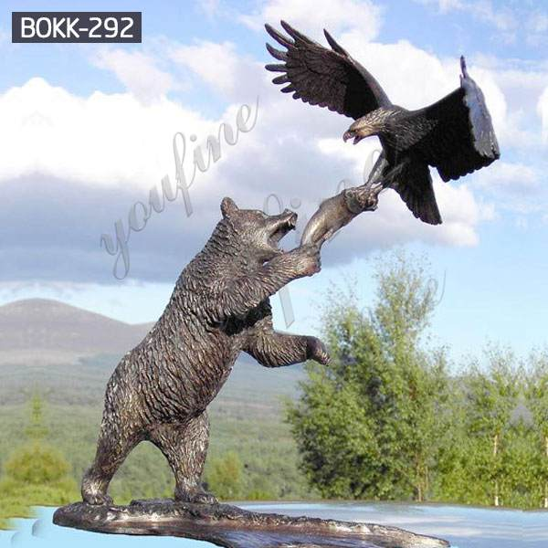 Hot-selling Large Size Bronze Bear and Eagle Statue for Decor Supplier BOKK-292