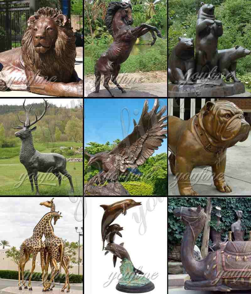 Large Size Bronze Bear and Eagle Statue for Decor