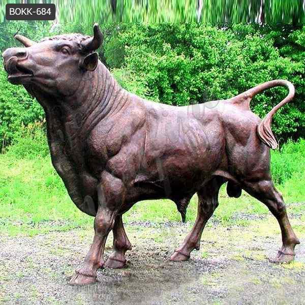 Life Size Casting Bronze Bull Sculpture for Garden Manufacturer BOKK-684