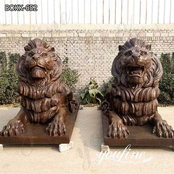 Antique Pair of Life Size Bronze Lion Statues Outdoor Garden for Sale BOKK-652