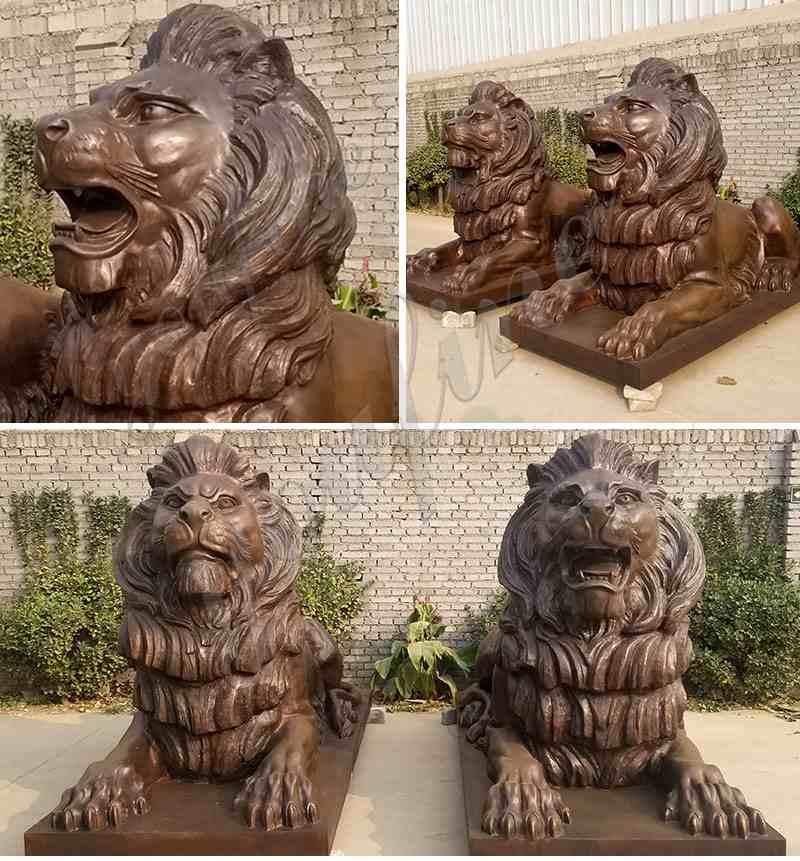 Antique Pair of Life Size Bronze Lion Statues Outdoor Garden