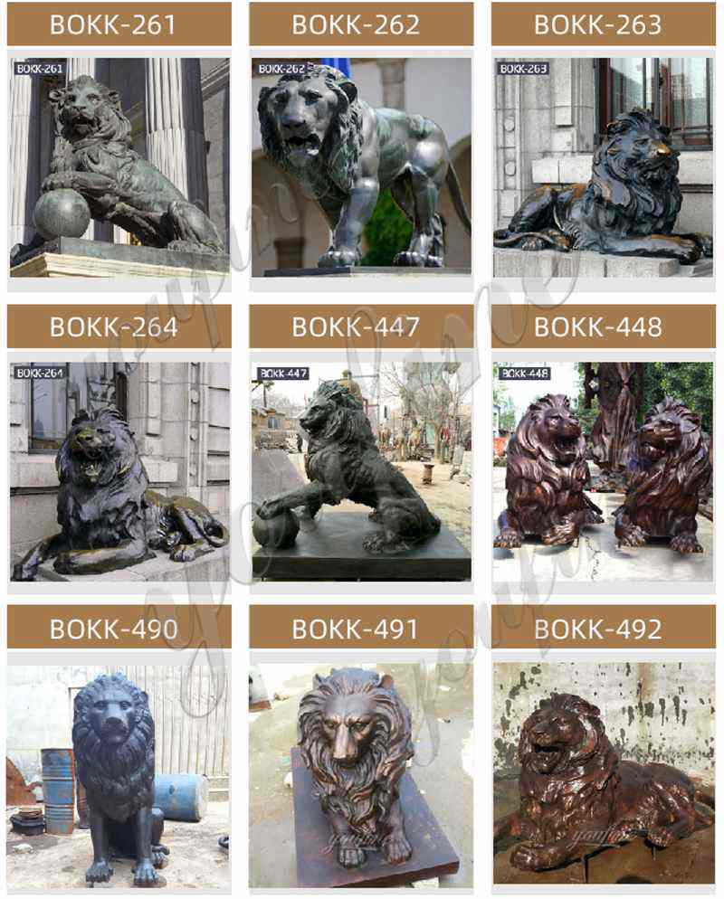 Life Size Bronze Lion Statues Outdoor Garden for Sale