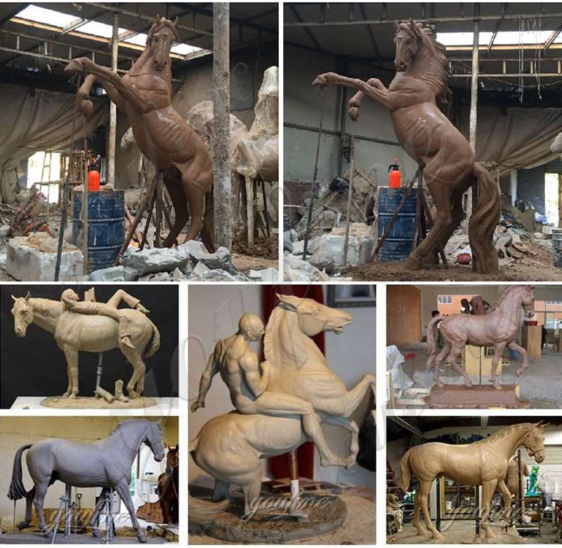 Cast Bronze Grazing Horse Garden Statue