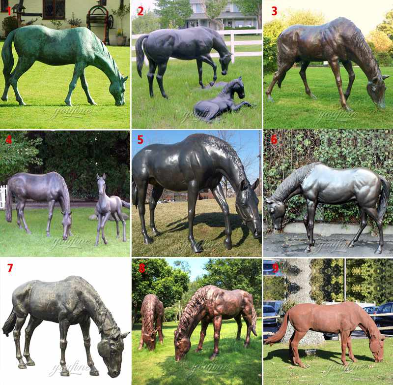 Life Size Cast Bronze Grazing Horse Garden Statue for Sale