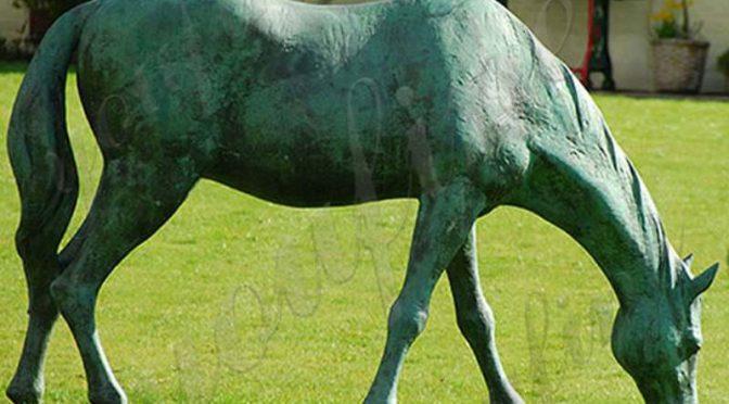 life size bronze grazing horse statue BOKK-241