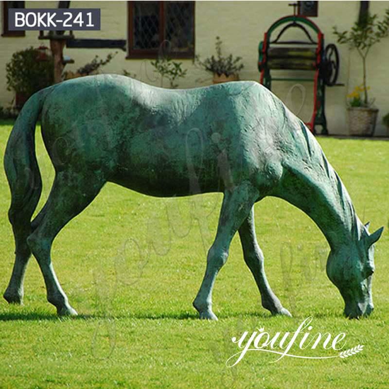 Life Size Cast Bronze Grazing Horse Garden Statue for Sale BOKK-241