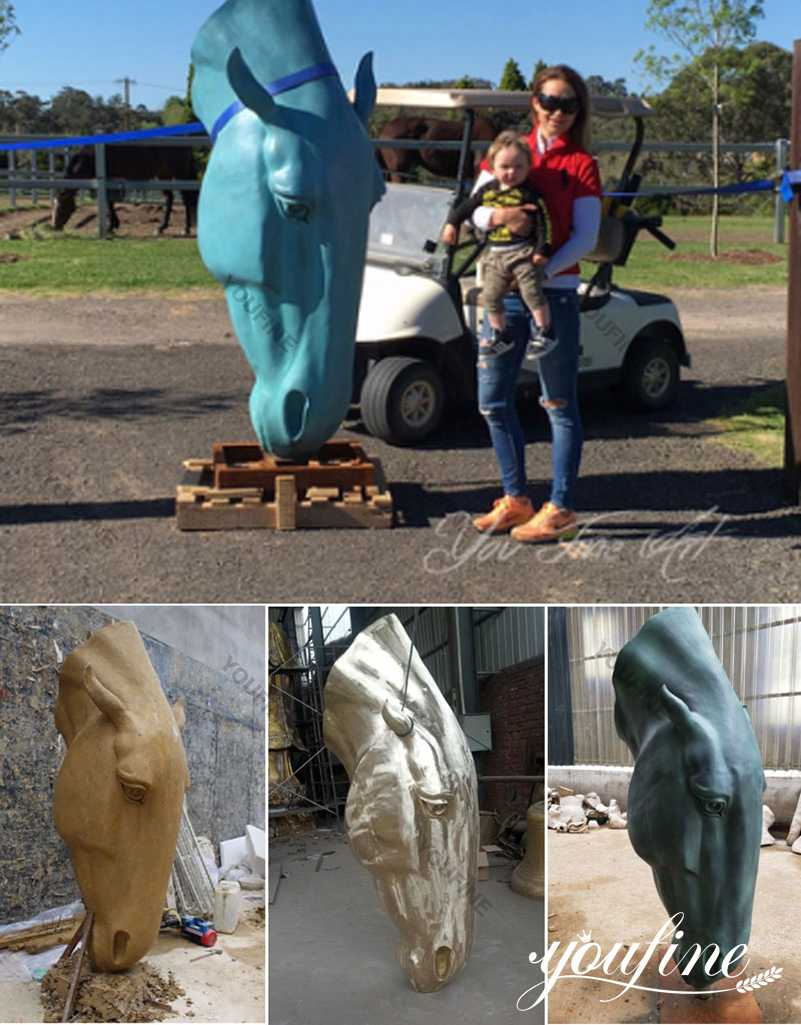 Bronze Large Horse Head Statue for Sale