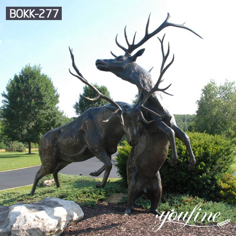 Life Size Two Bronze Stag Statues Garden Ornament for Sale BOKK-277