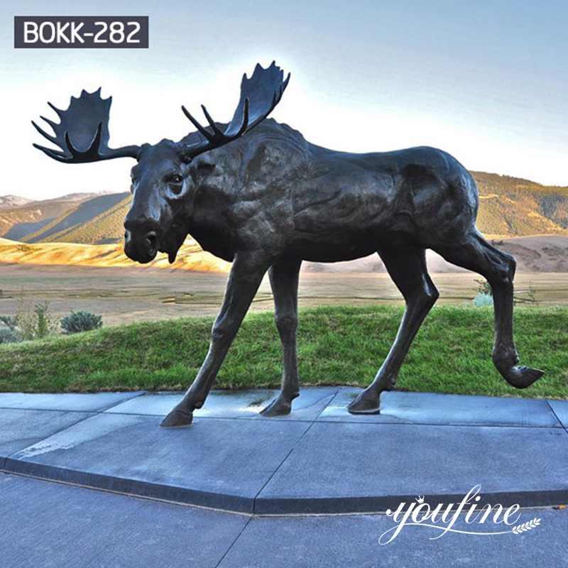 Outdoor Large Bronze Moose Yard Statue for Sale BOKK-282