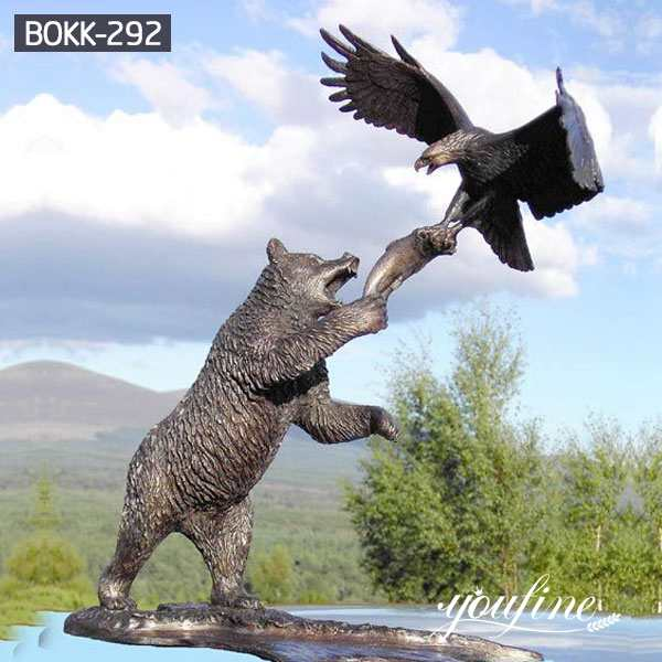 Large Outdoor Bronze Bear and Eagle Statue for Sale BOKK-292