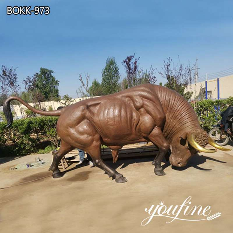 Large Bronze Ready to Charge Bull Statue for Garden for sale BOKK-973
