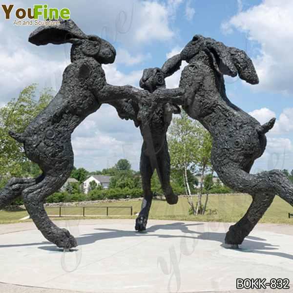 Giant Dancing Bronze Hare Sculpture Square Decor for Sale BOKK-832