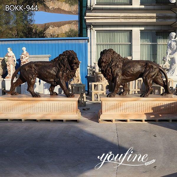 Large Antique Bronze Lion Statues Gates Decor for Sale BOKK-944