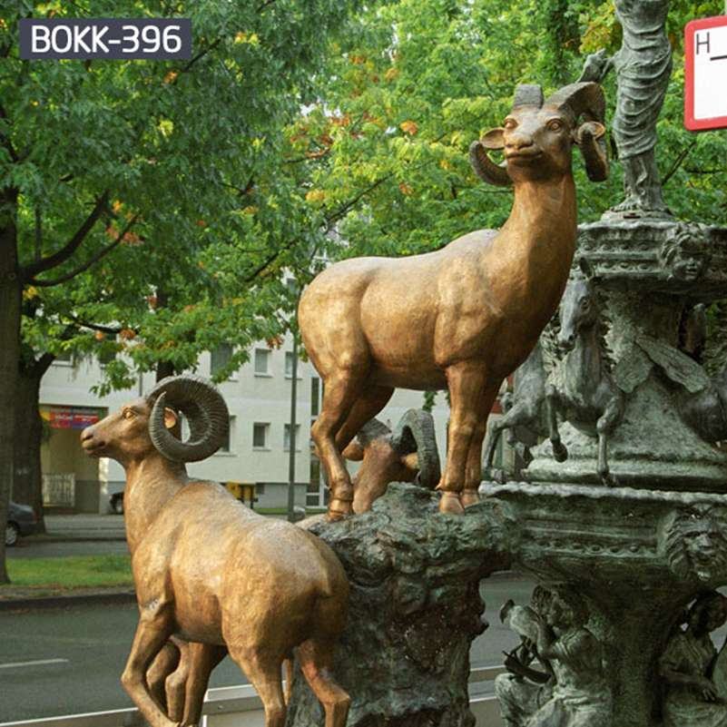 Outdoor Life Size Bronze Goat Statues for Garden for Sale BOKK-396